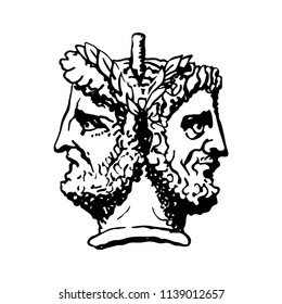 Two-faced Janus. Two male heads in profile, connected by the nape. Stylization of the ancient Roman style. Graphical design. Vector illustration.