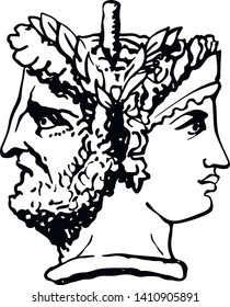 Two-faced Janus. Woman and man heads in profile, connected by the nape. Stylization of the ancient Roman style. Graphical design. Vector illustration.