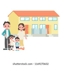 two-generational households family & duplex apartment  illustration set