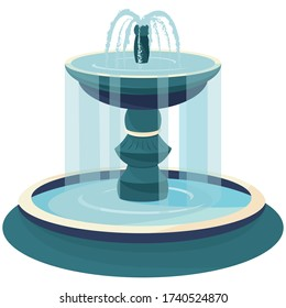 Two-level water fountain. Beautiful object in cartoon style.