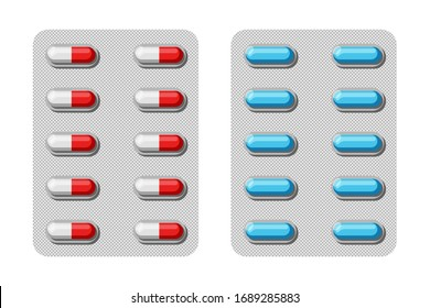 Two-piece hard capsules in blisters. Pharmaceutical blister packs isolated on white background. Vector illustration