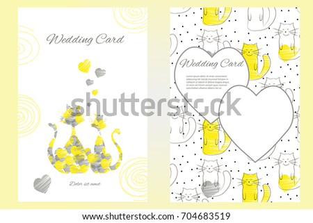 twosided wedding invitation template greeting card stock vector