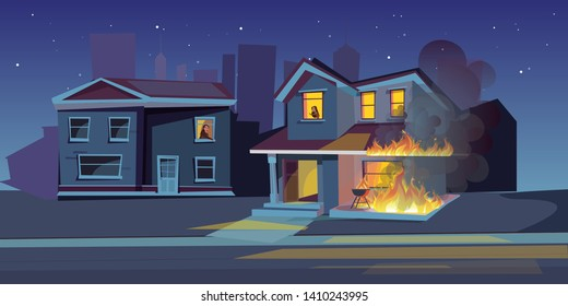 Two-storey house on fire vector illustration. Burning building at night. Fire insurance, dangerous flame accident. Property protection. Fire caused by carelessness. Scared people in house