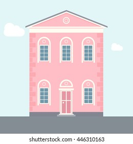 Two-story house. Pink flat apartment building. Old architecture. Vector illustration of house.