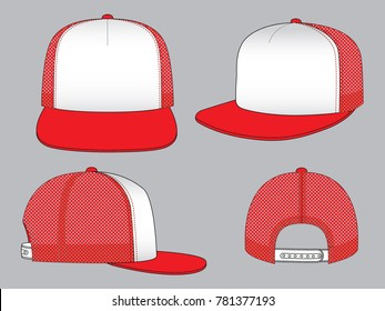 Two-Tone Hip Hop Cap Design Vectorf With Red/White Color.