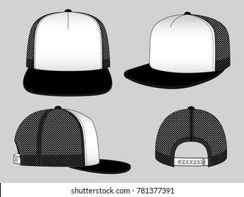 Two-Tone Hip Hop Cap Design Vector With Black/White Color.