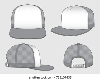 Two-Tone Net Hip Hop Cap Vector with White/Gray Colors.