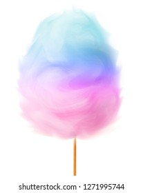 Two-tone pink blue cotton candy, 3d isolated on white background