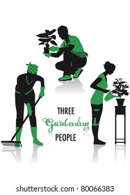 Two-tone silhouettes of three gardening people, part of a collection of lifestyle people