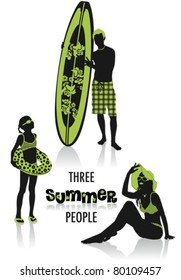 Two-tone silhouettes of three people on holiday, part of a collection of lifestyle people