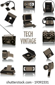 Two-tone silhouettes of vintage technological objects, part of a collection of fashion and lifestyle objects