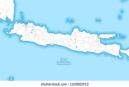 Two-toned map of the island of Java, Indonesia with the largest highways, roads and surrounding islands and islets