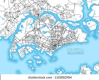 Two-toned map of the island of Pulau Ujong, Singapore with the largest highways, roads and surrounding islands and islets