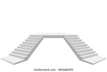 Two-way stairs on the white background