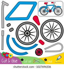 Two-wheeled bicycle side view. Education paper game for preshool children. Vector illustration.
