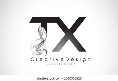 TX Letter Logo Design with Black Smoke. Creative Modern Smoke Letters Vector Icon Logo Illustration.