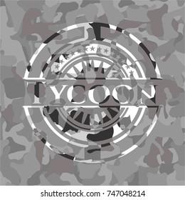 Tycoon on grey camouflaged texture
