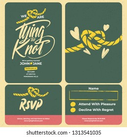 Tying the knot lettering wedding card template set