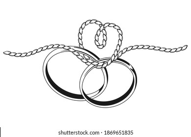 Tying the knot wedding vector black silhouette with two ring and rope isolated on a white background.