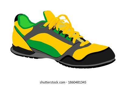 Tying sports shoes vector illustration isolated on white background. Sneakers sports wear. Modern foot wear. Elegant equipment for gym and outdoor activity.