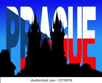 Tyn Church Prague with flag text illustration