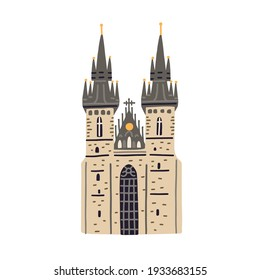 Tyn church in Prague. Old Czech building with black towers and gothic spires. Colored flat vector illustration of medieval European architecture isolated on white background