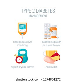 Type 2 diabetes management concept. Icons for medical infographic. Vector illustration in flat style