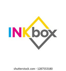 Type BOX and square as symbol of box. Cyan Magenta Yellow and Black color. logo vector.
