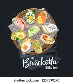The type of bruschetta on the wooden board. Ingredients for toast bread.