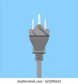 Type D or Type B electrical plug flat icon on blue background. Electrical plug vector illustration in Flat style. 3 pins