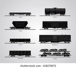 The type of freight cars. The set of a  railroad  cars  or  rail-cars.