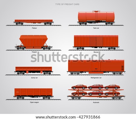 Type Freight Cars Set Railroad Cars Stock Vektorgrafik Lizenzfrei