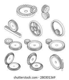 type of gears,gears type in vector