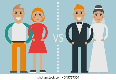 Type of relationships: common-law relationships (or cohabitation) vs traditional marriage (by church or civil  marriage)