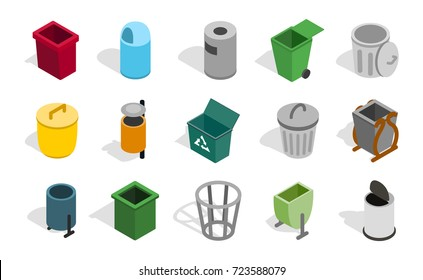 Type of street office can icon set. Isometric set of type of street office can vector icons for web isolated on white background