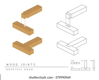 Type of wood joint set Dovetail Dado style, perspective 3d with top front side and back view isolated on white background