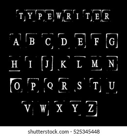 Type Writer alphabet for your design. Creative hand made letters. Lino Cut letters. Beautiful typography elements.