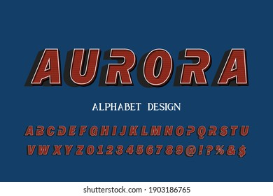 typeface design, alphabet vintage font, blue and white style background, alphabet vector design