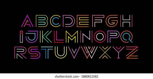 Typeface design featuring the letters of the alphabet from A to Z. Neon colors isolated on a black background Decorative Line Art Font vector illustration.