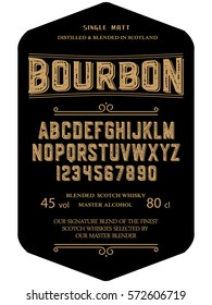 Typeface. Label. Bourbon typeface, labels and different type designs
