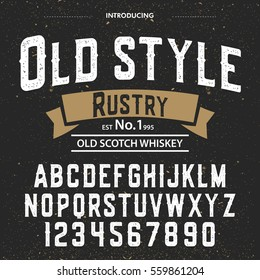 Typeface.Label. Old Style Rustry typeface, labels and different type designs