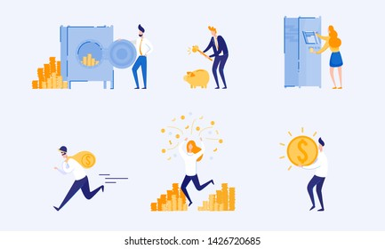 Types Accumulation and Storage Money. From Poverty to Wealth. Achive Goal. Vector Illustration. Way to Victory. Earn Money. Financial Stability. Cash Savings. Save Money. Bank Money System.