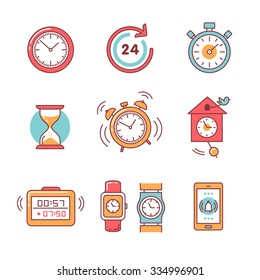 Types of alarms clocks, timers and watches set. Thin line art icons. Flat style illustrations isolated on white.