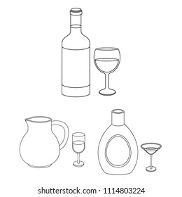 Types of alcohol outline icons in set collection for design. Alcohol in bottles vector symbol stock web illustration.