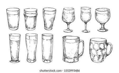 Types of beer glasses. Pints, mugs, stemmed, pilsner. Hand drawn illustration converted to vector