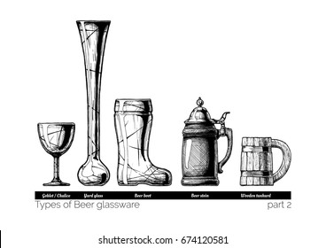 Types of Beer glassware. Goblet, Yard glass, Beer boot, stein and wooden tankard. illustration of stemwares in vintage engraved style. isolated on white background.