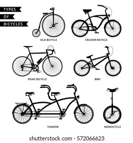 Types of bicycle: road bicycle, BMX, tandem, monocycle, old bicycle, cruiser.