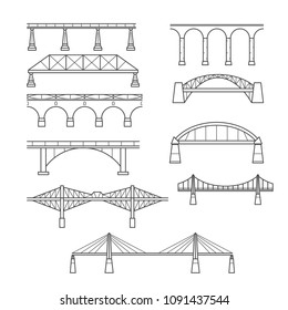 Types of bridges in linear style set - infographic icon of bridges