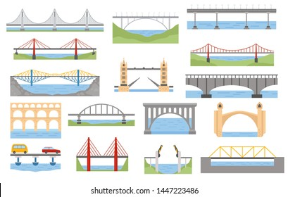 Types of bridges set. Color graphic design, infographic elements. Vector illustration