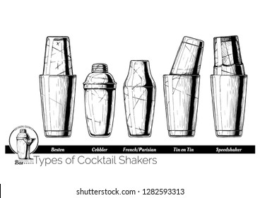 Types of cocktail shakers. Boston, Cobbler shaker, Parisian (French), Tin on Tin and Speedshaker. Vector hand drawn illustration of bartending equipment in vintage engraved style. isolated on white